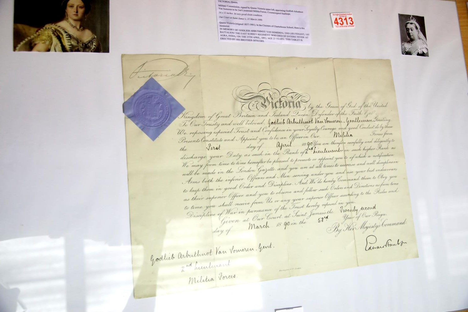 Lot 3031 - Victoria, a military commission signed by Queen Victoria upper-left, appointing Godlieb Arbuthnot
