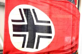German WWII type flag displaying Balkenkreuz, each corner mounted with buttons & buttonholes, 90 x