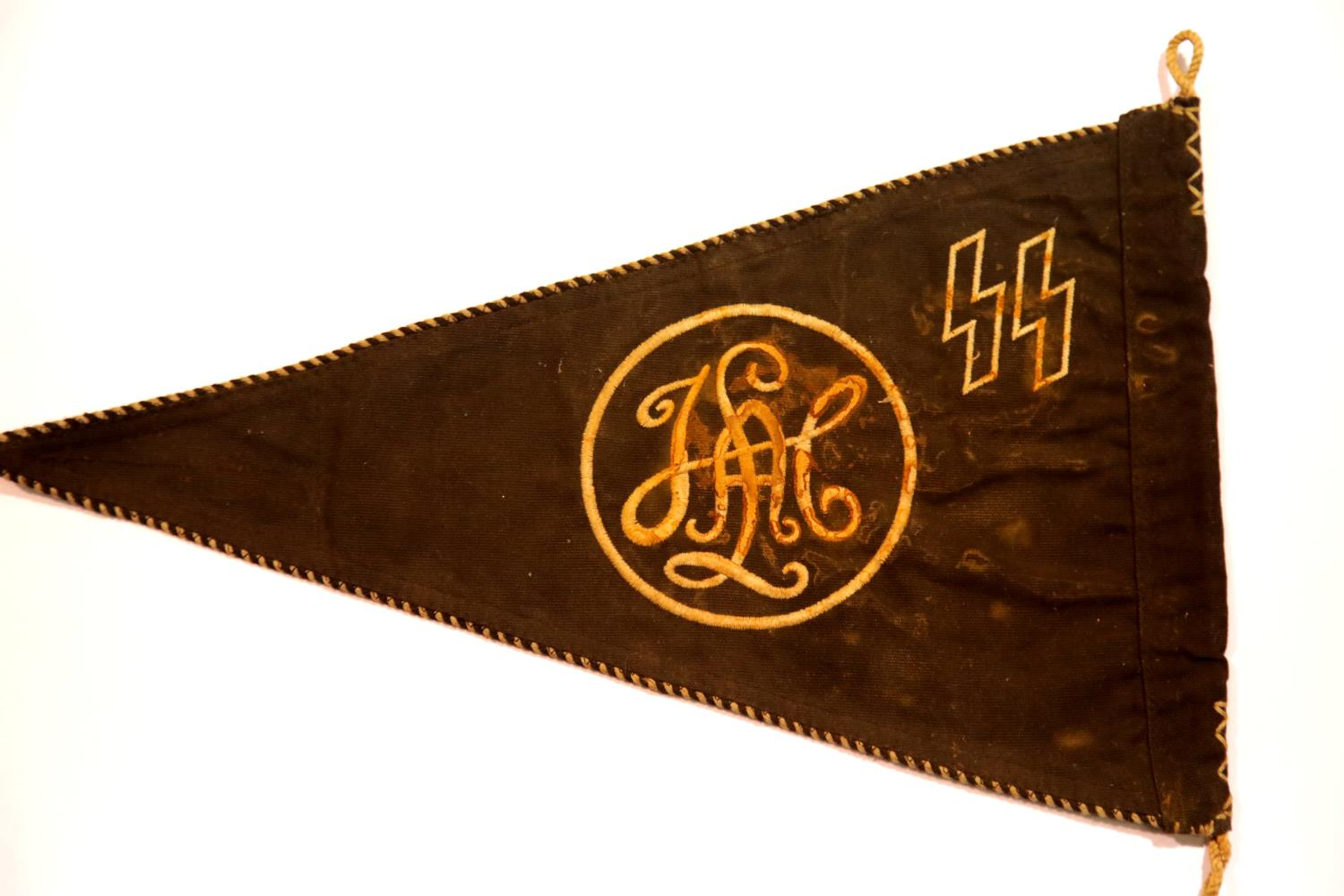 Lot 3023 - German SS type pennant embroidered 'LAH', L: 36 cm. P&P Group 1 (£14+VAT for the first lot and £1+