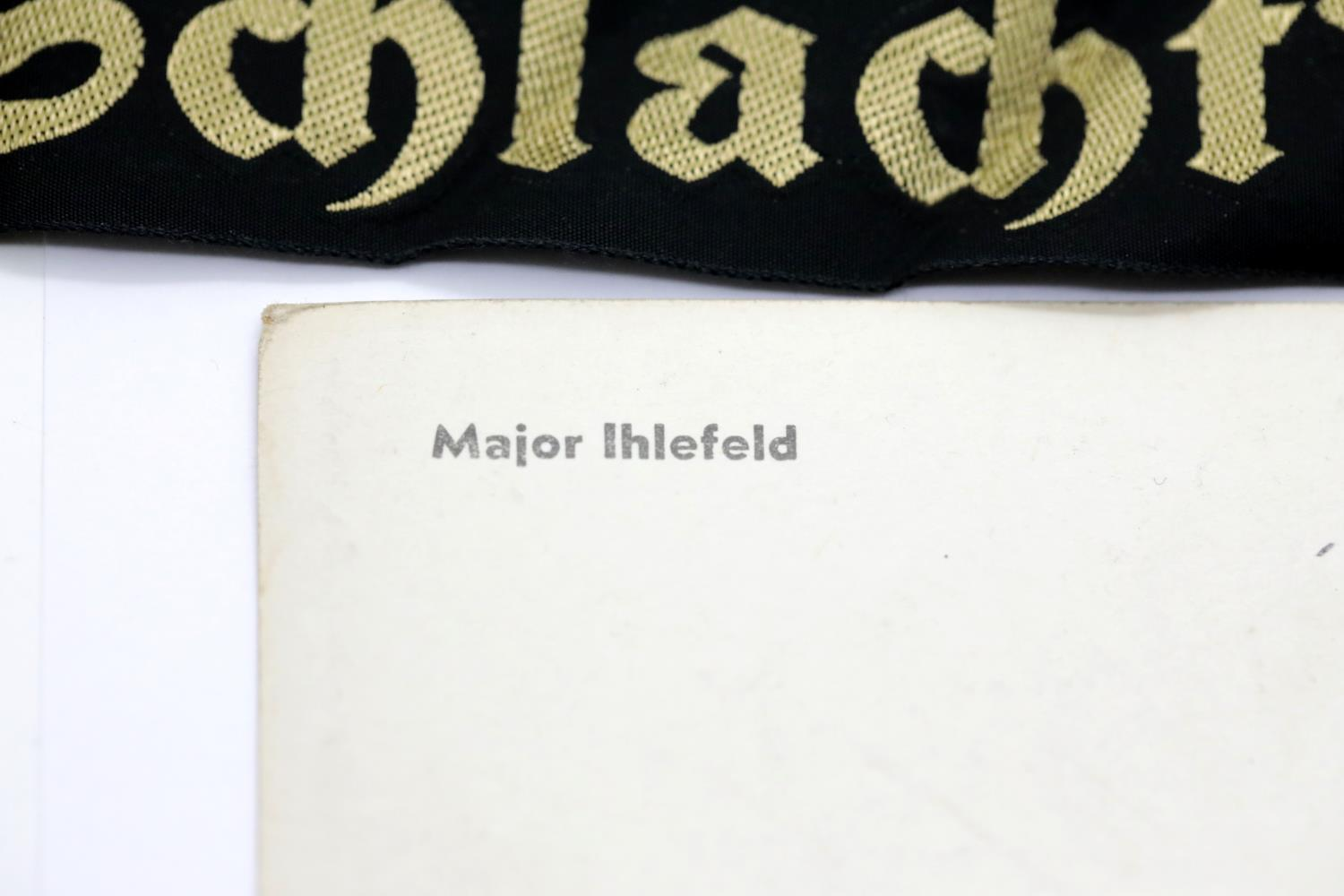 Lot 3039 - German Third Reich type photographic postcard of Major Ihlefeld, together with a Kriegsmarine hat