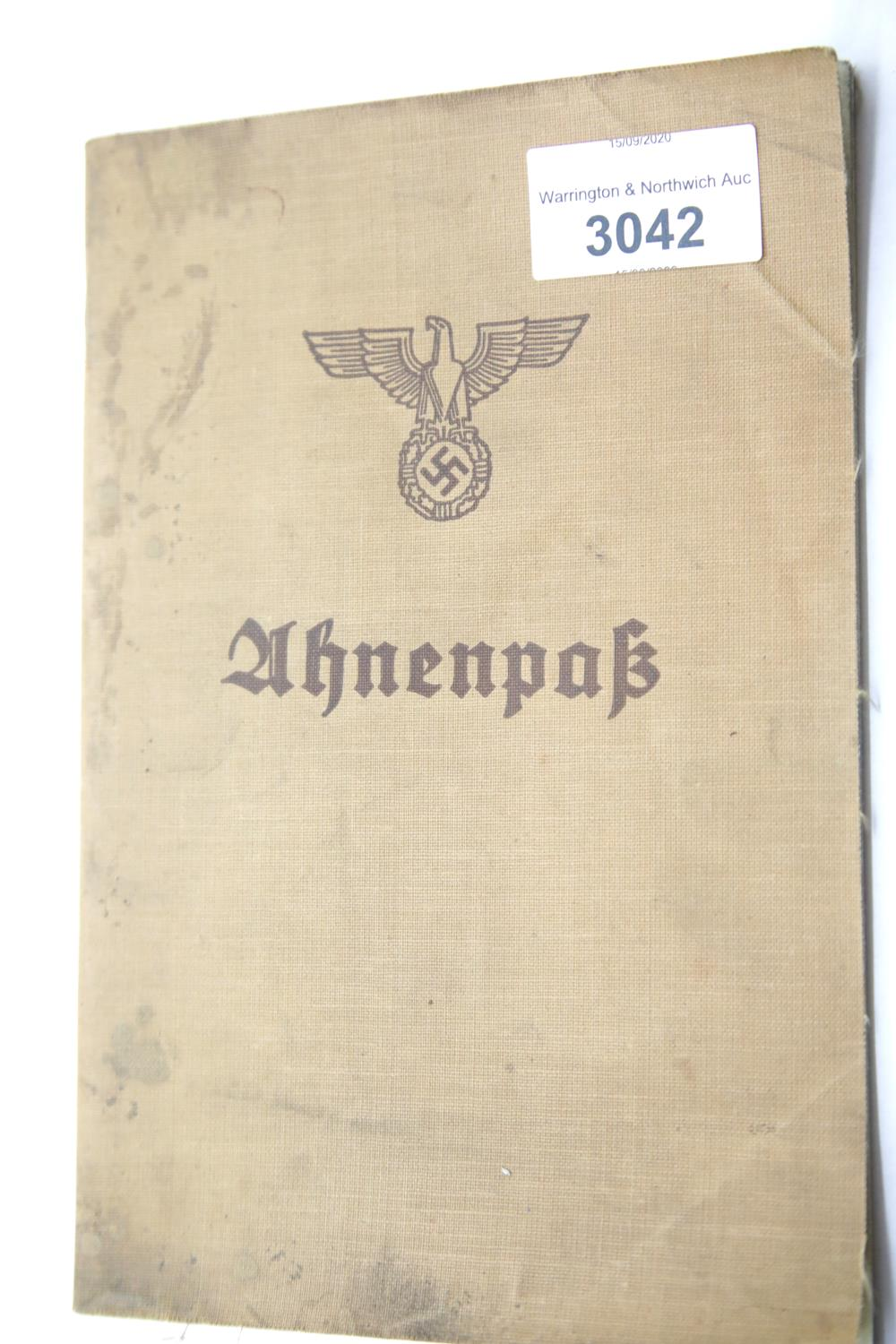 Lot 3042 - German Third Reich type Ahnenpass canvas covered book, unused. P&P Group 1 (£14+VAT for the first