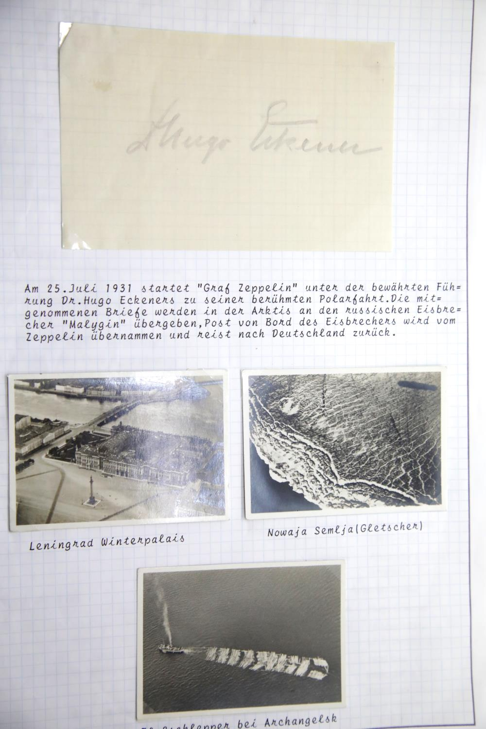 Lot 3032 - Graf Zeppelin, three aerial snapshots of Leningrad, Norwegian coast and Archangel together with