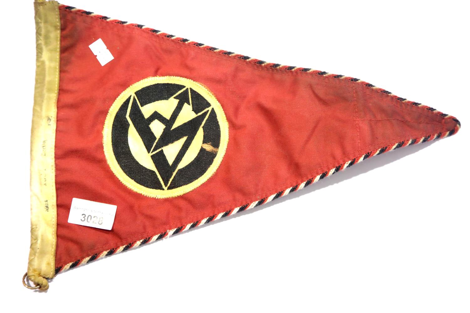 Lot 3028 - German Third Reich type SA pennant, stamped Berlin and dated 1934. P&P Group 1 (£14+VAT for the