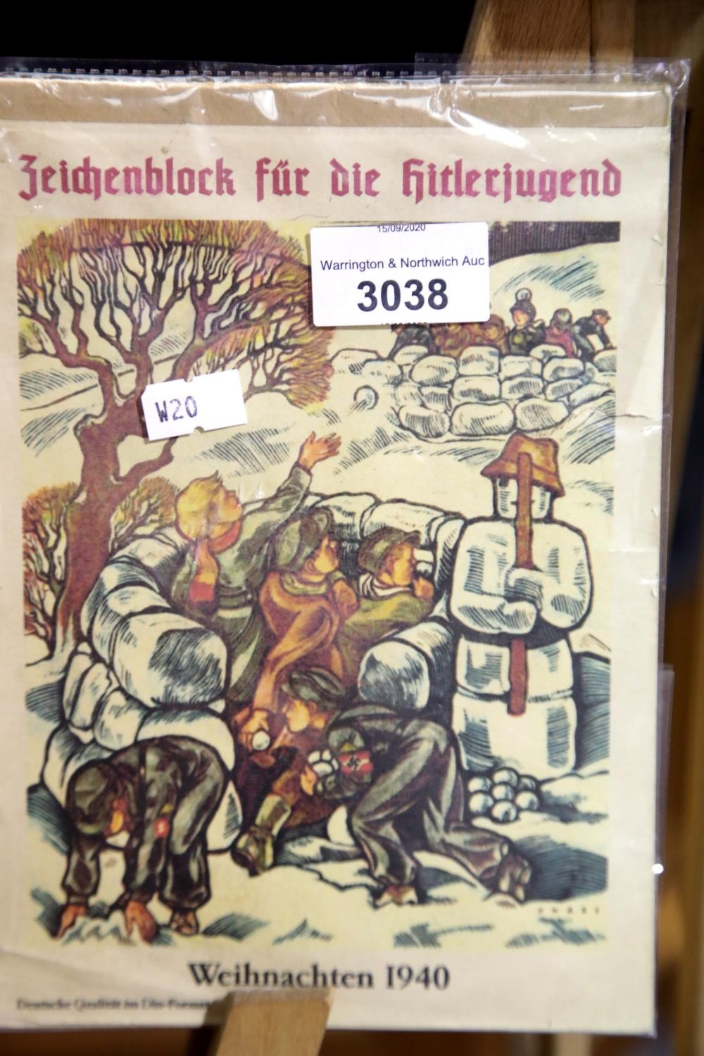Lot 3038 - German WWII Hitler Youth Sketch Pad with some interesting artwork. P&P Group 2 (£18+VAT for the