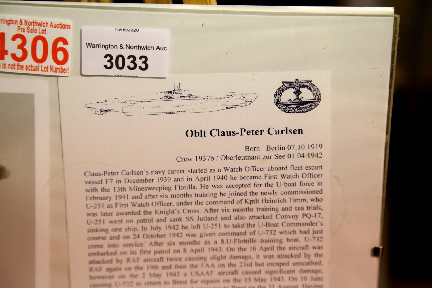Lot 3033 - Oberleutnant Claus-Peter Carlsen, Commander of U-732 signed photograph with information. Posted
