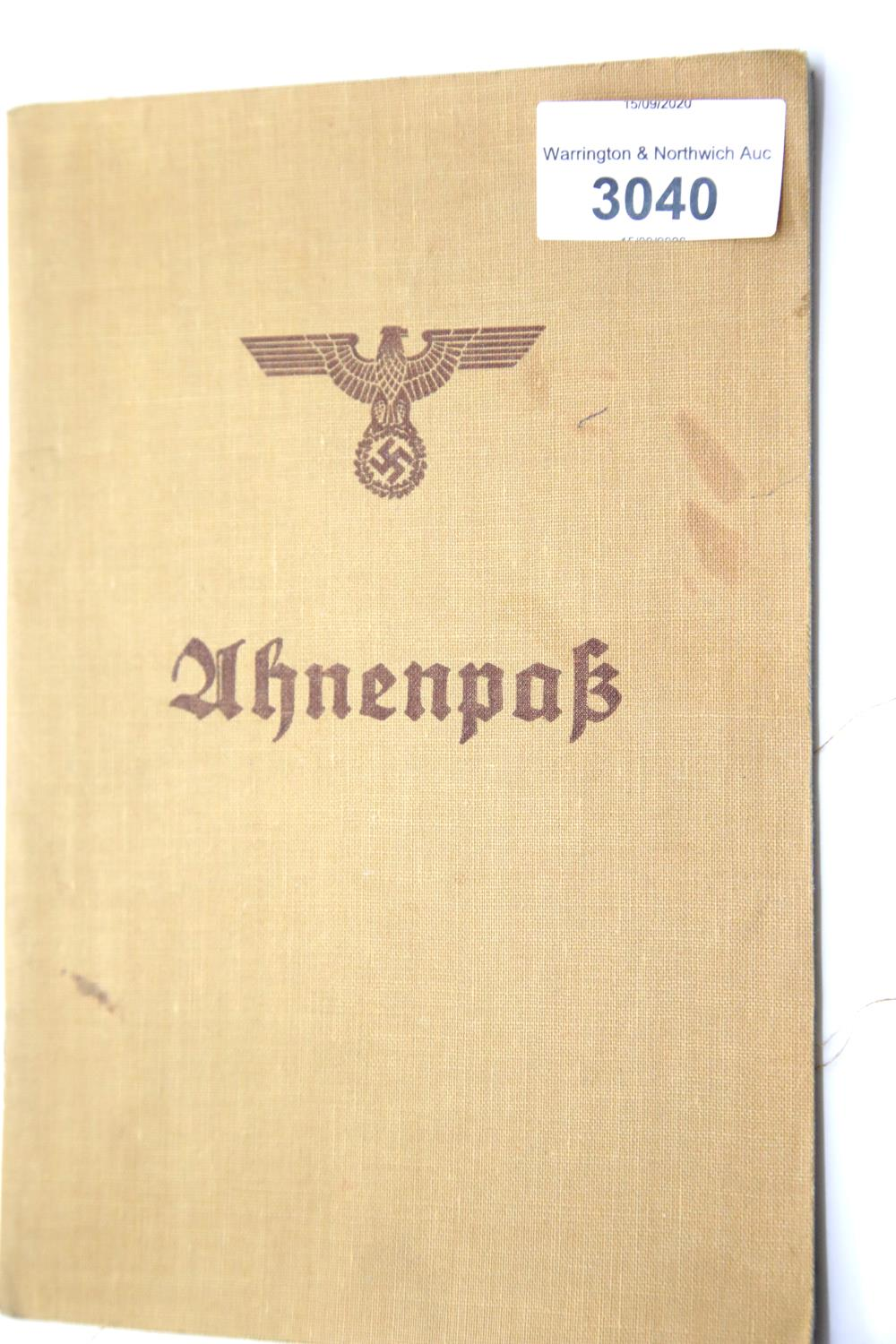 Lot 3040 - German Third Reich type Ahnenpass canvas covered book, partly completed with Muller family, most