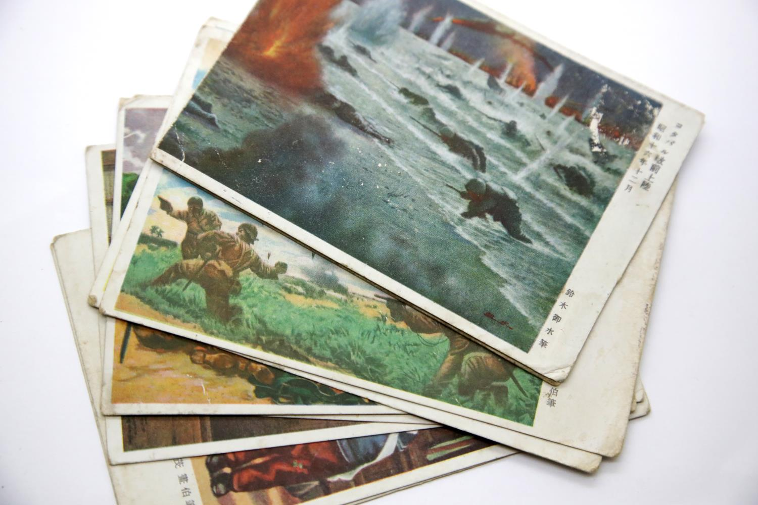 Lot 3051 - Nine Japanese WWI type postcards displaying military scenes, many annotated. P&P Group 1 (£14+VAT