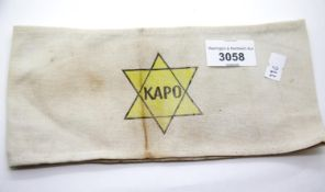 WWII type Jewish KAPO armband. P&P Group 1 (£14+VAT for the first lot and £1+VAT for subsequent