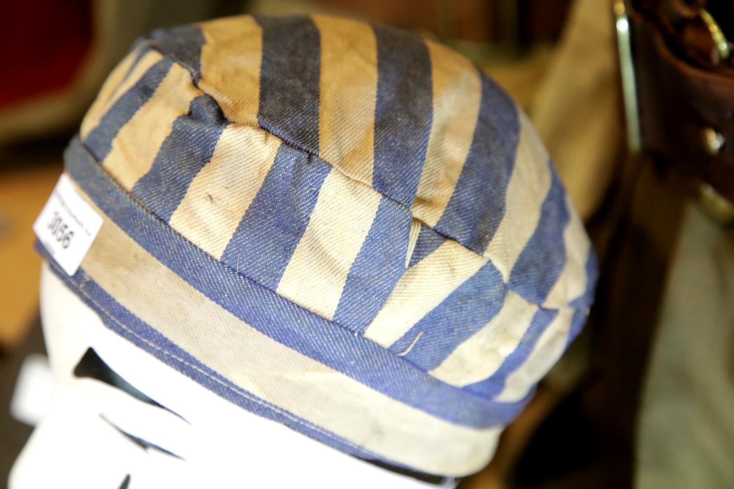 Lot 3056 - WWII type Jewish concentration camp or prison cap. P&P Group 1 (£14+VAT for the first lot and £1+VAT
