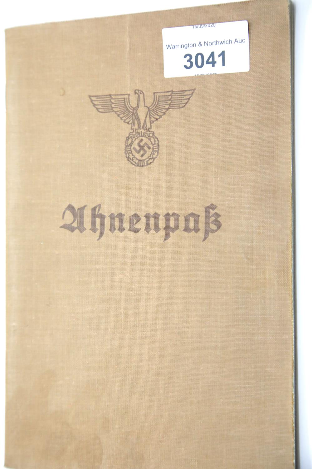 Lot 3041 - German Third Reich type Ahnenpass canvas covered book issued to Hermine Auguste Zacharias, partly