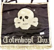 German SS type fringed trumpet banner marked to Totenkopf Division, 47 x 47 cm. P&P Group 1 (£14+VAT