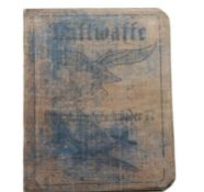 German WWII type canvas bound Luftwaffe Stuka Pilot's identity book. P&P Group 1 (£14+VAT for the