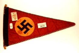 German WWII type party pennant, L: 32 cm. P&P Group 1 (£14+VAT for the first lot and £1+VAT for