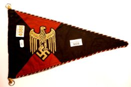German WWII type Panzer pennant, L: 38 cm. P&P Group 1 (£14+VAT for the first lot and £1+VAT for