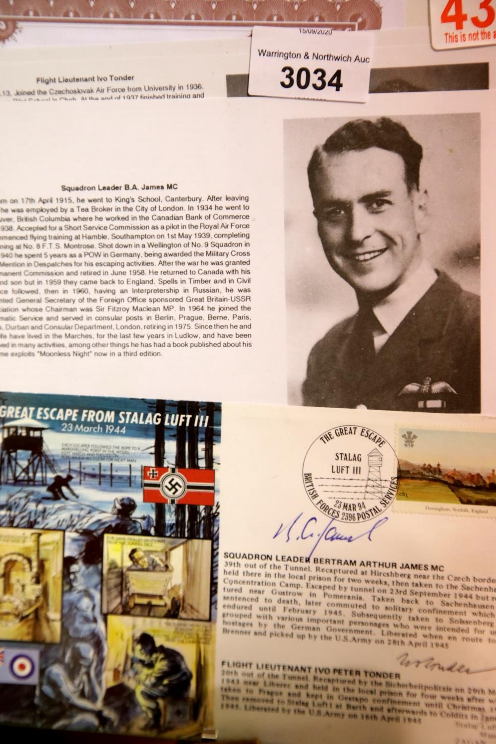 Lot 3034 - Stalag Luft III escapees' signatures of Squadron Leader Bertram Arthur James MC and Flight