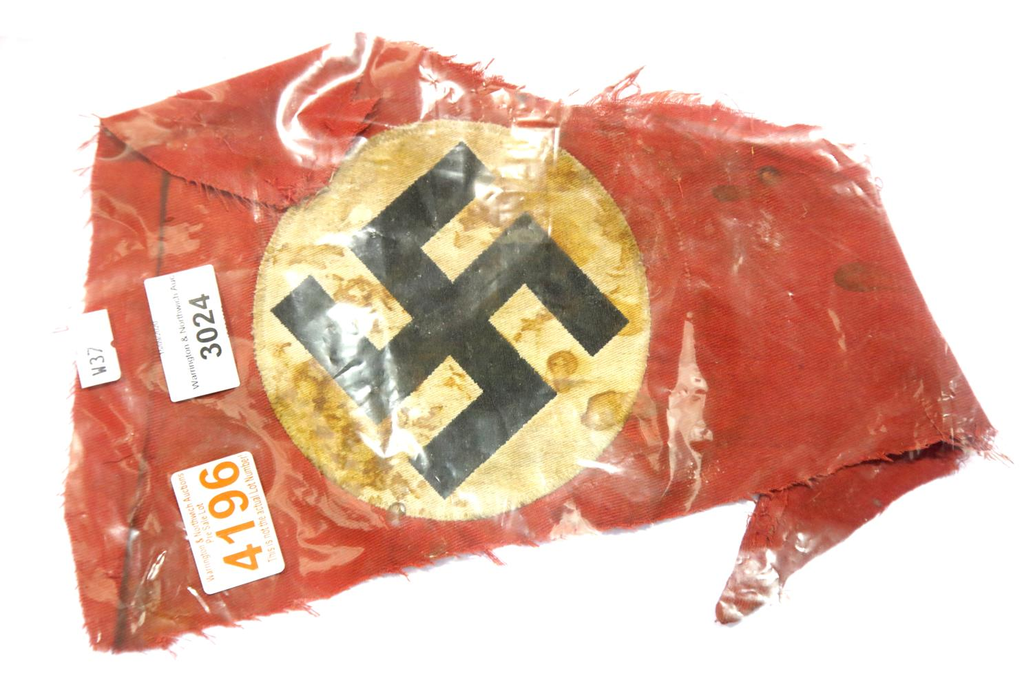 Lot 3024 - German WWII type Relic Fragment of Nazi Bunting. P&P Group 2 (£18+VAT for the first lot and £3+VAT