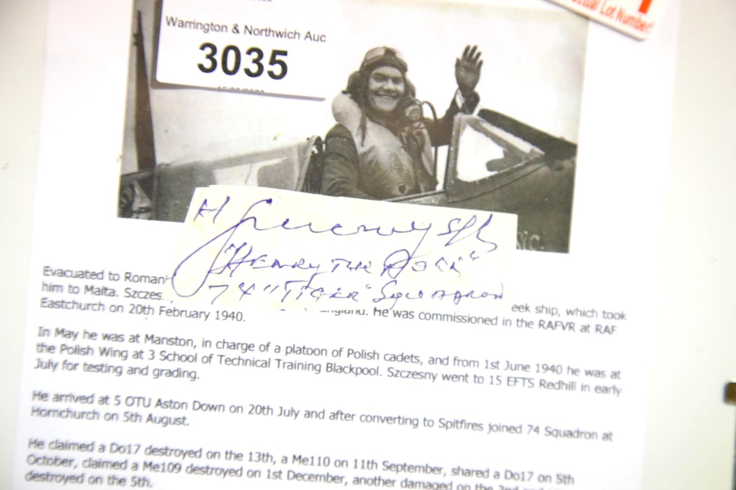 Lot 3035 - Battle of Britain, Henryk Szcz?sny VM DFC (Polish, 1909 ? 1996) signature on paper with write-up.
