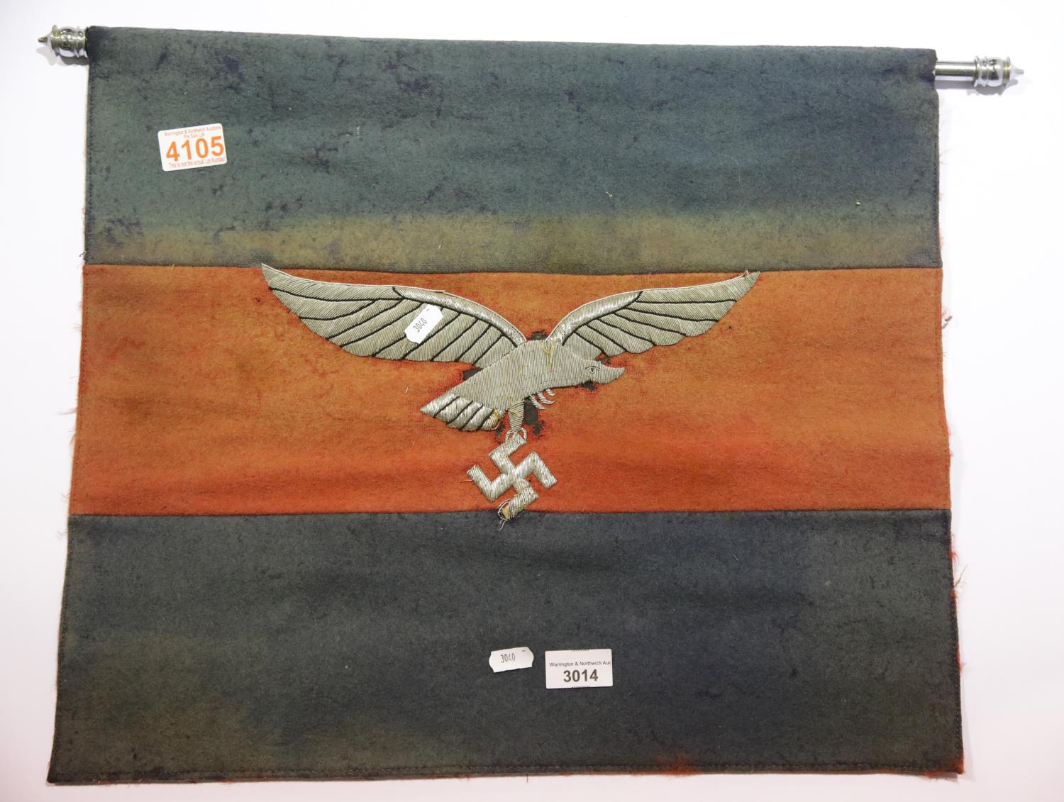 Lot 3014 - German WWII type Luftwaffe banner with chrome pole, 51 x 44 cm. P&P Group 1 (£14+VAT for the first