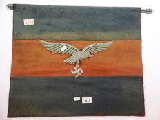 German WWII type Luftwaffe banner with chrome pole, 51 x 44 cm. P&P Group 1 (£14+VAT for the first