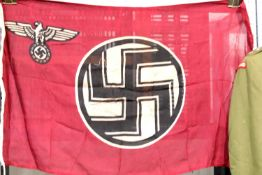 German WWII type battle flag with embroidered label 'Franzs Eberhardt Fahnerfabrik West', 95 x 55
