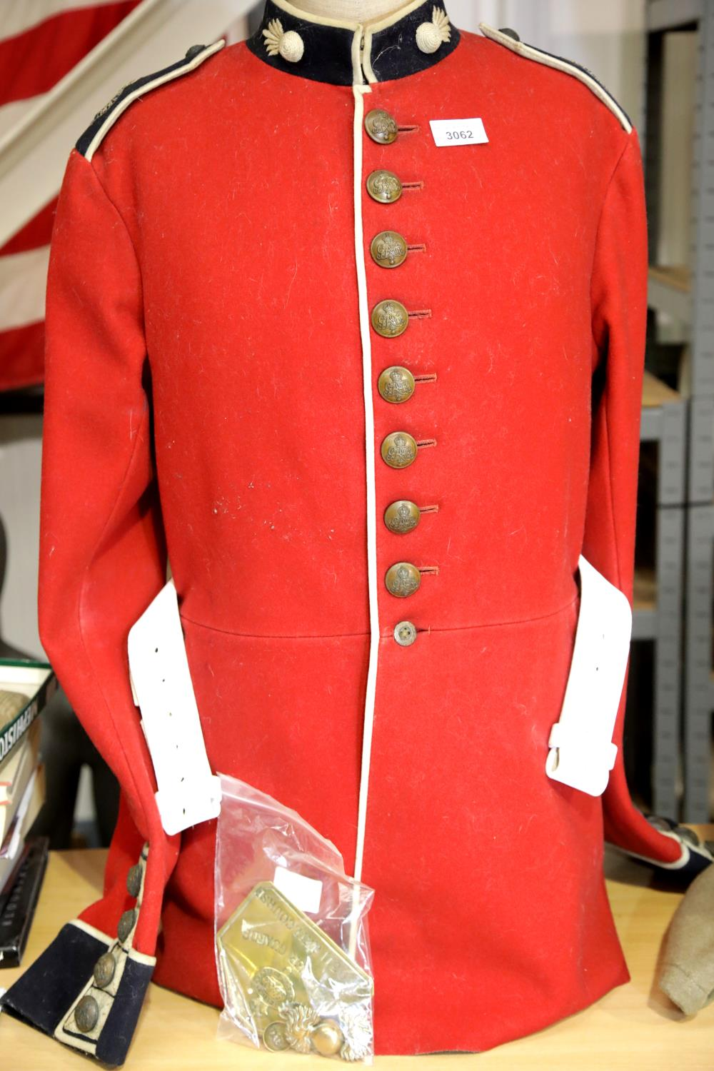 George V Grenadier Guards dress tunic with white belt lacking buckle, additional brass badges and