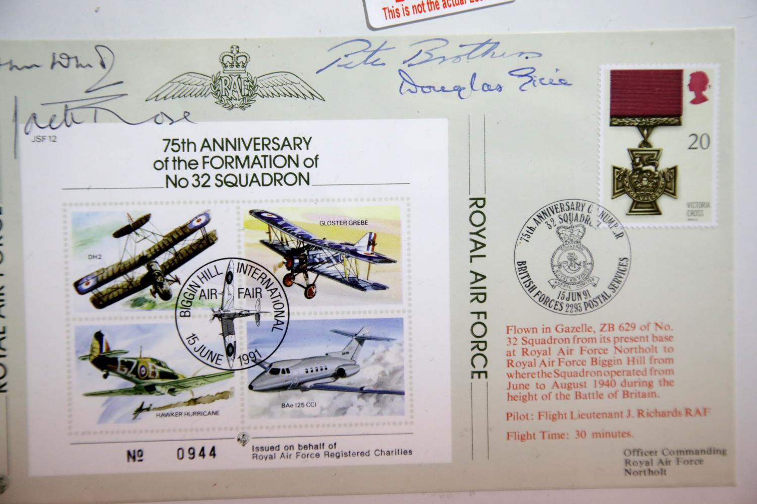 Lot 3037 - Battle of Britain pilots signatures of Pete Brothers, Jack Rose and Douglas Grice, with a further