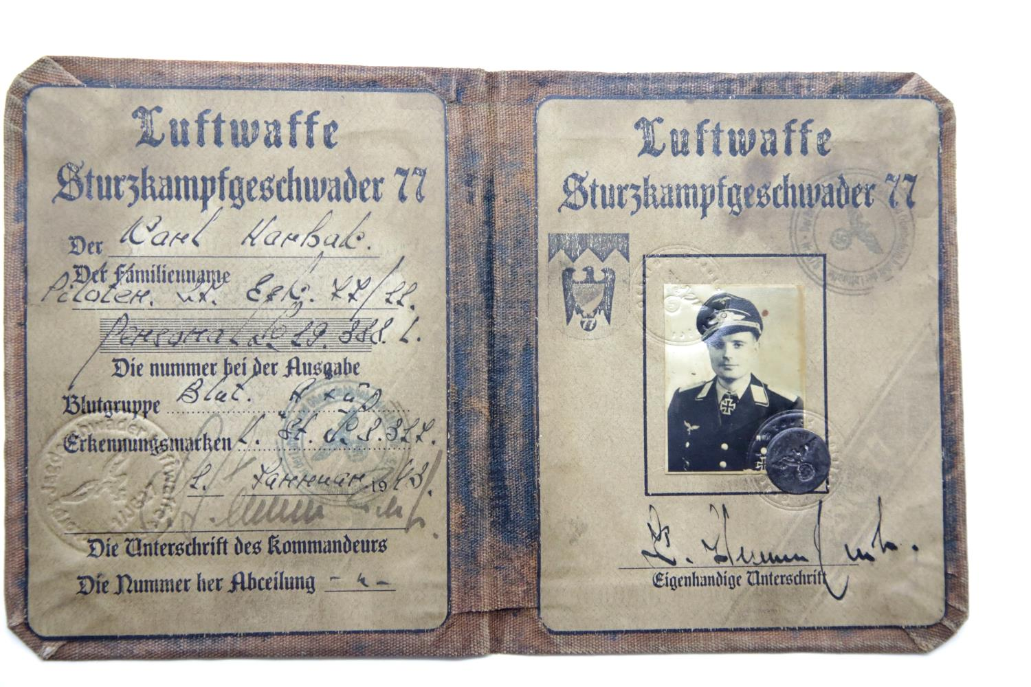 Lot 3046 - German WWII type canvas bound Luftwaffe Stuka Pilot's identity book. P&P Group 1 (£14+VAT for the