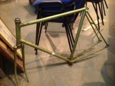 Green metal bike frame. Not available for in-house P&P.