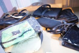 Five ladies handbags and two backpacks. Not available for in-house P&P