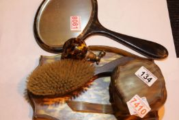 Dressing table set in faux tortoiseshell with a glass atomiser (damage to tray). Not available for