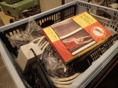 Box of mixed household items including cables etc, P&P Group 2 (£18+VAT for the first lot and £3+VAT