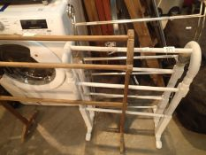 Two towel rails, one wood one stainless steel. Not available for in-house P&P