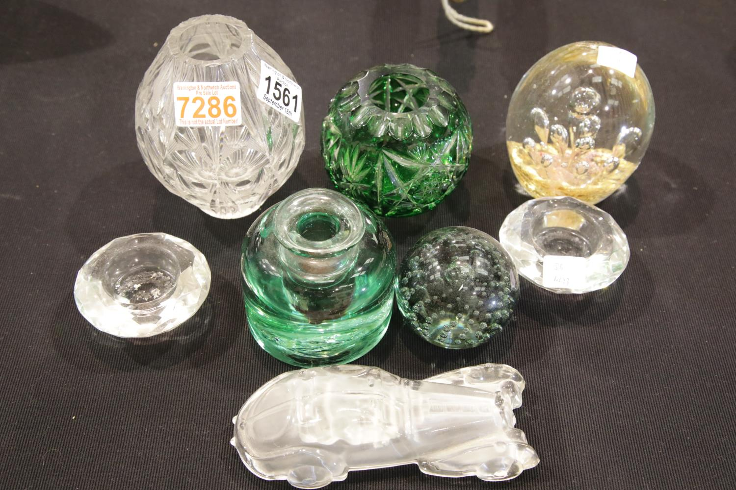 Lot 1561 - Mixed glass including paperweights and a Victorian inkwell, tallest H: 14 cm. P&P Group 3 (£25+VAT