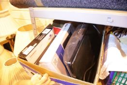 Box of electricals including a TV, Blu Ray player etc. Not available for in-house P&P Condition