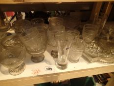 Shelf of mixed glassware. Not available for in-house P&P.