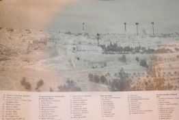 Scroll of pictures & map of Jerusalem, as seen from the Mount of Olives; double sided. Not available