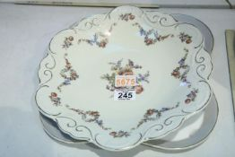Large Edelstein floral plate and a hand painted continental example. Not available for in-house P&P
