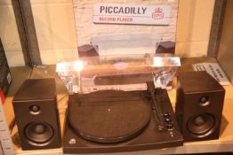 GPO Piccadilly Retro 3-Speed Turntable with Perspex Lid and External Speakers; Bluetooth receiver;
