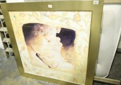 Large Roman type print of a couple in gold coloured frame, 90 x 90 cm. Not available for in-house