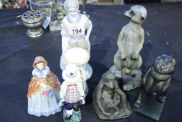 Three cast clay and resin animal figurines and ceramic figurines. Not available for in-house P&P