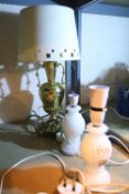 Three mixed table lamps including touch operated lamp. Not available for in-house P&P Condition