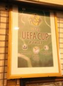 Uefa Cup Final framed and glazed print, 100 x 68 cm. Not available for in-house P&P