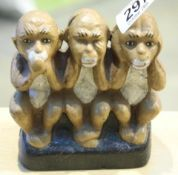 Cast iron Three Wise Monkeys, 13 x 11 cm. P&P Group 1 (£14+VAT for the first lot and £1+VAT for