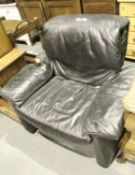 Leather effect single recliner chair. Not available for in-house P&P.