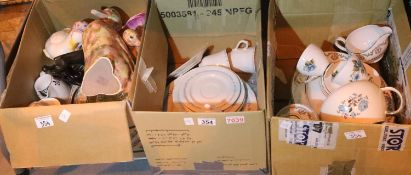 Three boxes of mixed household ceramics including Noritake. Not available for in-house P&P