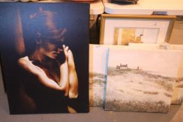 Six assorted prints, two on canvas and four framed and glazed. Not available for in-house P&P