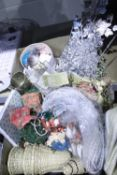 Mixed decorative/craft items, including wicker bells, robins, silver cord etc. Not available for