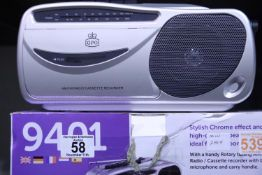Silver, radio cassette recorder with AM/FM Radio, boxed, GPO 9401, in working order. Not available