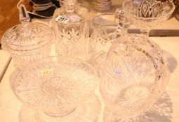 Collection of mixed glass including a decanter. Not available for in-house P&P