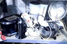 Mixed electrical items including fan, coffee filter maker, can opener etc. Not available for in-